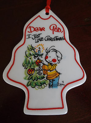 "DEAR GOD KIDS CERAMIC CHRISTMAS ORNAMENT ""2003"" I JUST LOVE CHRISTMAS"