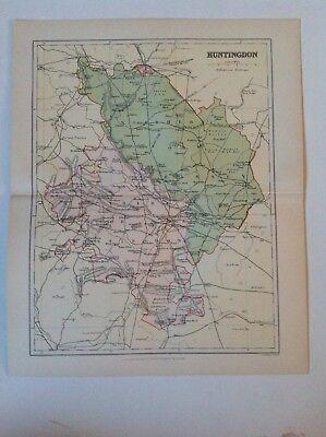 Huntington, Antique County Map c1897, Brabner, Atlas, Original, England