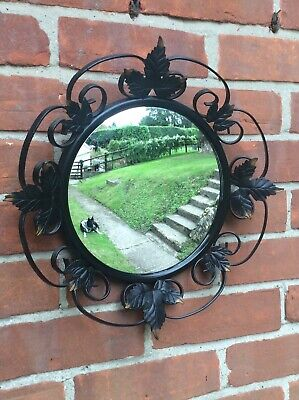 VINTAGE MID CENTURY CONVEX WALL MIRROR WITH IRON SCROLL LEAVES, FREE UK POST