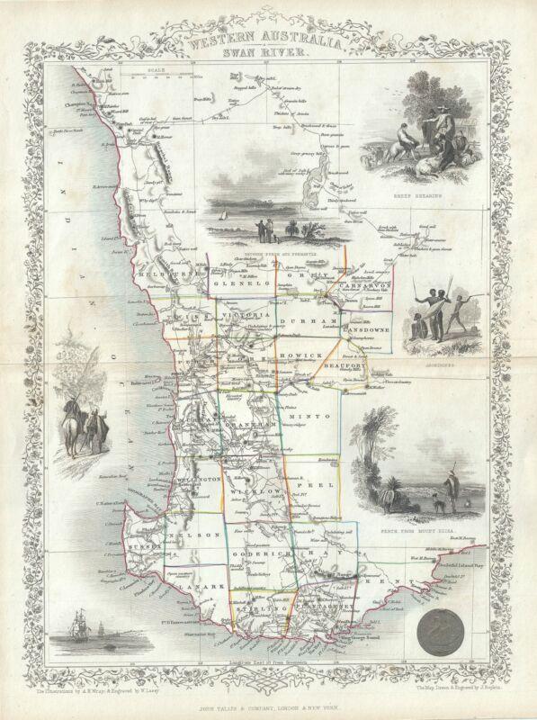 1851 Tallis and Rapkin Map of Western Australia