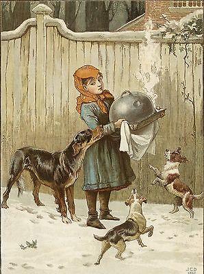 GORDON SETTER TERRIERS ANTIQUE COLOUR PRINT 1882 Christmas Dinner - J C Dollman