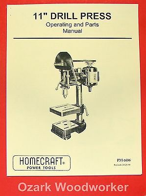 Delta-homecraft 11 Drill Press Opertors Parts Manual 0221