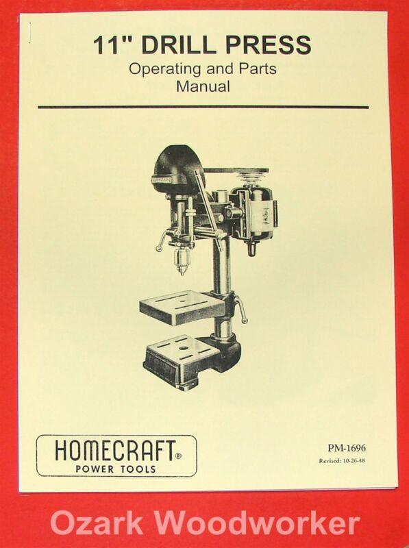 """DELTA-Homecraft 11"""" Drill Press Opertors & Parts Manual 0221"""