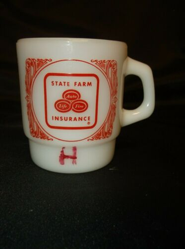 """VINTAGE """"STATE FARM  INSURANCE"""" COFFEE CUP FIRE KING ANCHOR HOCKING"""