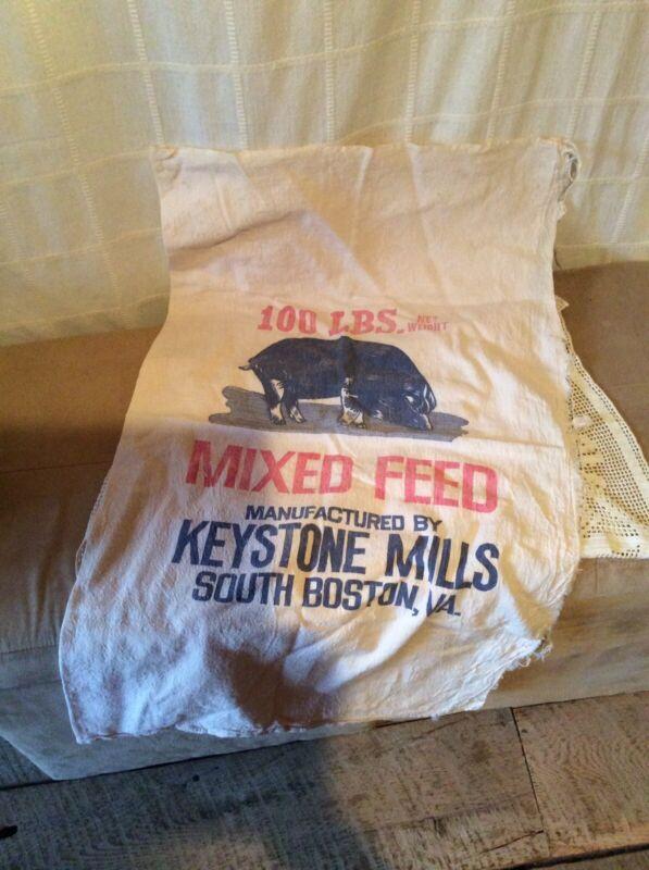 OLD 100 LB Feed Sack Keystone Mills South Boston Va.
