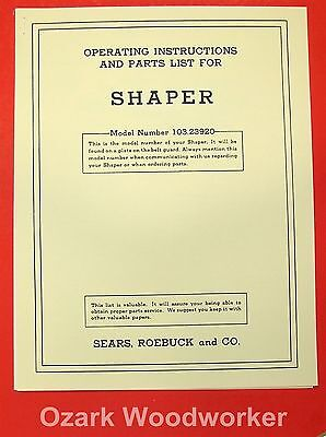 Craftsman Small Wood Shaper 103.23920 Instructions Parts Manual 0186