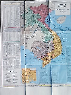 "Military Vietnam War Conflict Wall Map LARGE 28x35"" all of SEA  -  5 color,.,"
