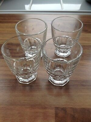 4 Vintage Crystal Liquor Glasses