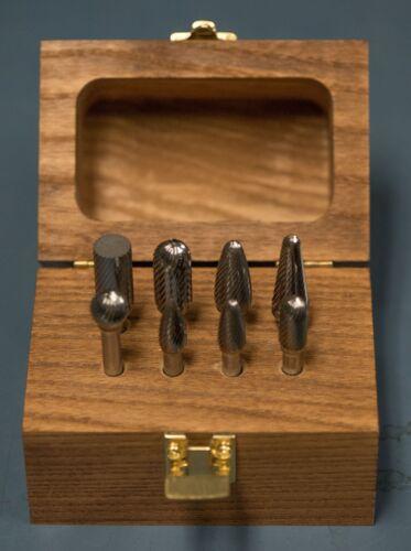 "Carbide Burr Set Single Cut Cutting Tool Die Grinder Bit 1/4"" Shank MADE IN USA"