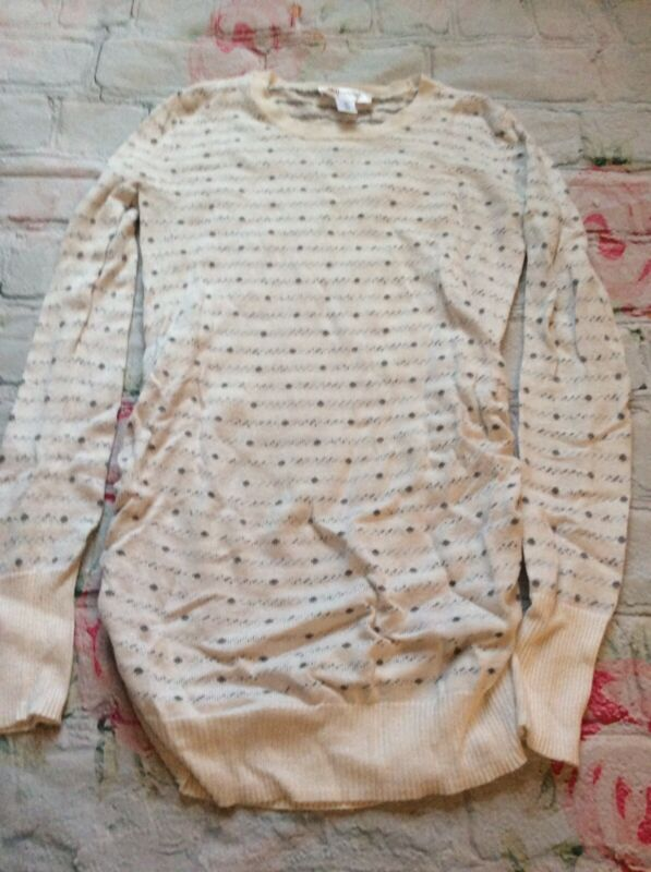 Motherhood Maternity Sweater White With Grey Dots Side Ruching Xs So Cute