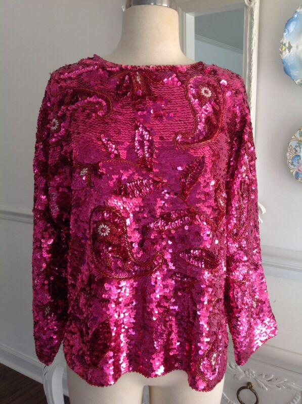 Vintage Fuschia PINK Paisley SEQUINS Knit TOP Blouse Beaded Med