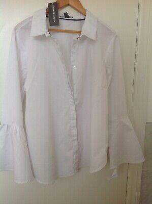 Alexander Jordan Blouse size 1x18 White Stripe Bell Sleeve RRP 69 Dollars