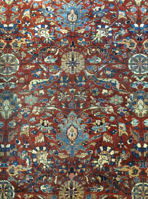 Fantastic Floral - 1900s Antique Oriental Rug - Handmade Carpet - 8.4 X 11.2 Ft.