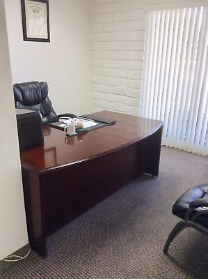 Lightly Used Cherry Executive Office Desk Attached L-work Area Leather Chair