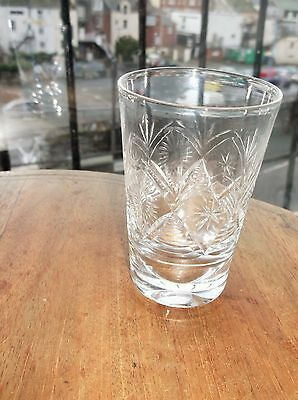 SMALL ELEGANT CUT LEAD CRYSTAL GLASS WHISKY CORDIAL TUMBLER UNUSUAL DEEP BASE