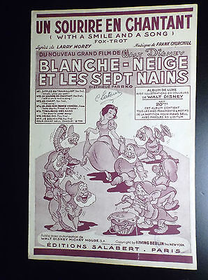 Superbe ancienne partition musicale Blanche neige Walt Disney