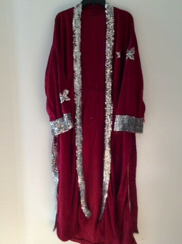Red Heavyweight Pro Wrestling Entrance Robe With Sequins & Tie Belt - Size L-XL