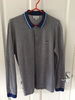 Mens Lacoste Grey Long Sleeve Polo Shirt Size 5 Regular Fit