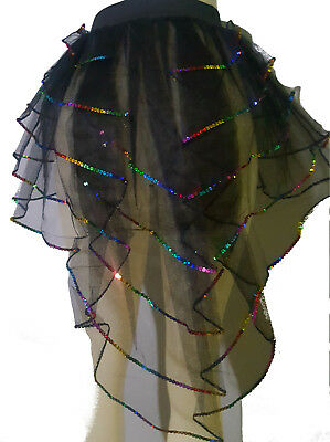 WOMEN BLACK PEACOCK SEQUIN BUSTLE TUTU DANCE EMO PARTY CLUB HALLOWEEN CHRISTMAS
