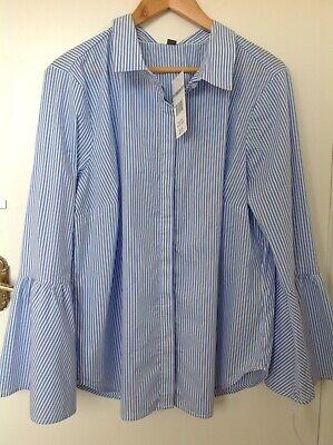 Alexander Jordan Blouse size 1x18 Blue & White Stripe Bell Sleeve RRP 69 Dollars
