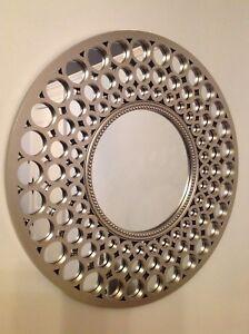 Round Wall Mirror Bath Overmantel ART Deco Large Sliver Round Wall Mirror 63cm