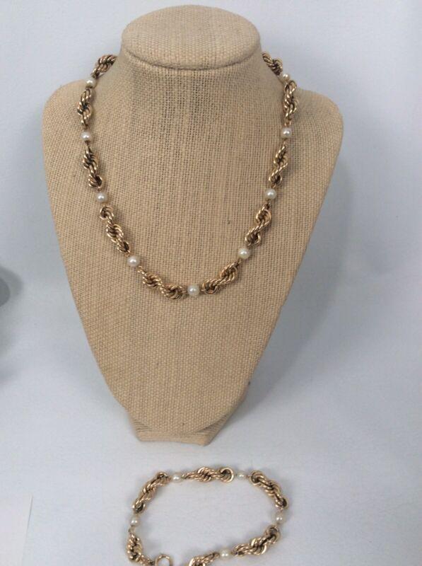Beautiful Vtg 12k gold filled Rope Twist Pearl necklace Bracelet Set