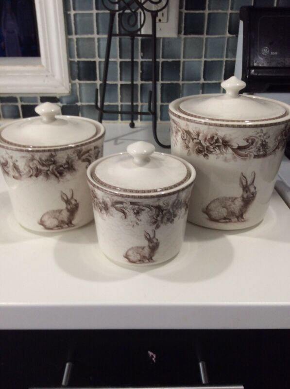 222Fifth Arabella Bunny  Easter New 3 Canister  Set (6 Pieces)