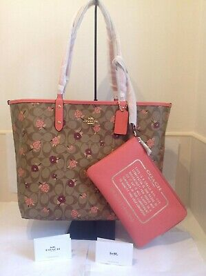 NWT Coach Sig. Tossed Peony Reversible City Tote Bag w Floral Print (KHAKI/PINK)