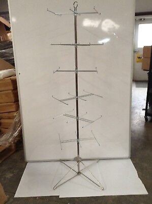 6 Tier Spinner Floor Display Rack 36 Prong Chrome Finish