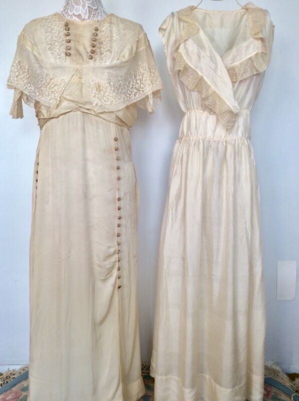 Vintage Nightgowns Ivory With Lace Trim Circa 1920's