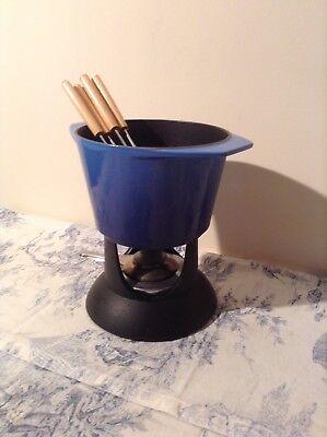 Vintage French Le Creuset Cousances Blue Fondue Set (2953)