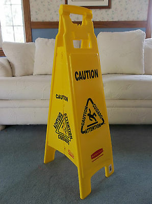 38 Rubbermaid Caution Wet Floor Sign 4 Sided Multi-lingual Caution Sign 6114-00