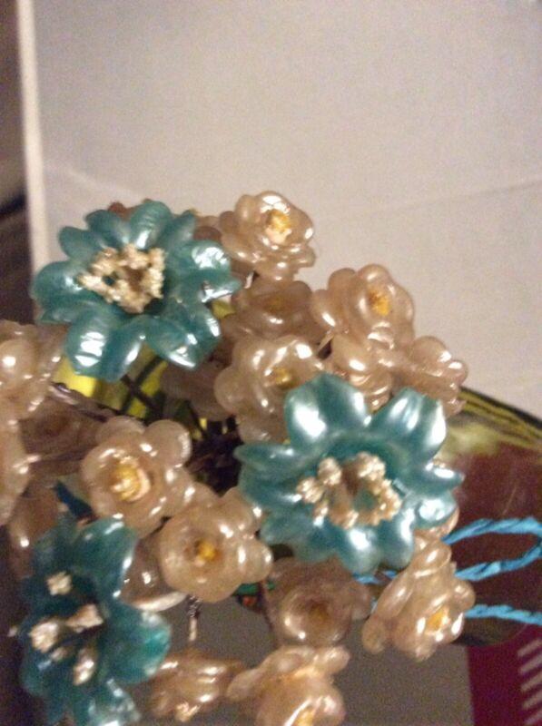 NOS~VTG~1930-40s~Wedding WAX FLOWERS~Bridal Embellishments Veil Bouquet~Crafts