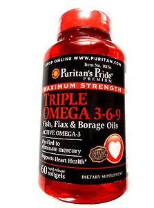 Maximum Strength Triple Omega 3-6-9 Fish Flax & Borage Oils 60 Pills Softgels