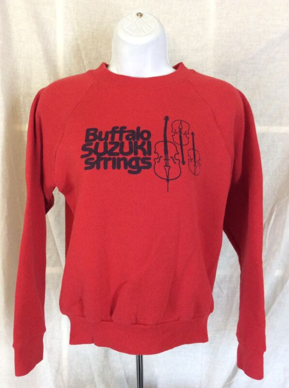 Vtg 80s Early 90s Buffalo Suzuki Strings Raglan Sweatshirt Red Youth L Music