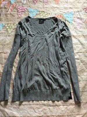 Asos Maternity Sweater V-neck Grey Euc Size 2 XS Cute