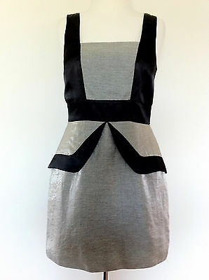 Review Mini Fitted Peplum Shift Dress Black   Silver Sz 10 Aus Cocktail Formal