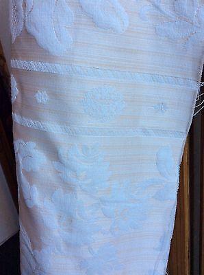 5.45m Cream Ecru Damask Stripe Flame Retardant Upholstery Fabric FREE POSTAGE