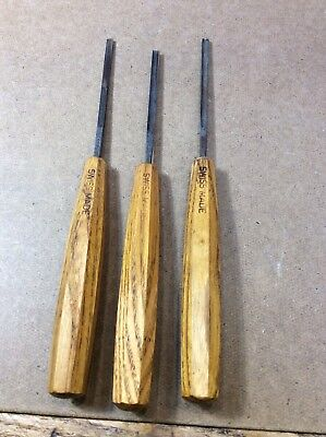 Swiss Made wood carving tools set of 3. Nice!