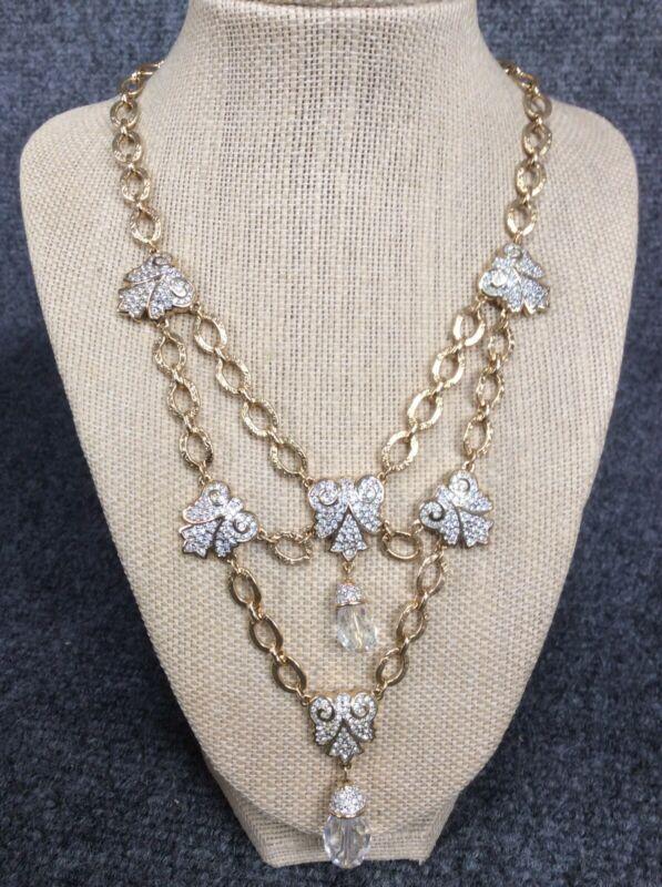 Statement Vintage signed swan swarovski crystal  gold tone necklace