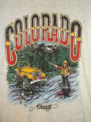 Vintage Ouray Colorado T-Shirt XXL 1994 USA Jeep Fly Fishing