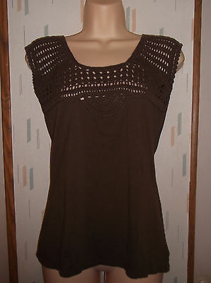 Eddie Bauer Womans (S) Brown 100% Cotton Knit Top with Crocheted Bodice Crochet Bodice Cotton Top