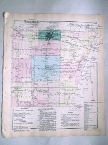 1872 Original map SWEDEN,NY hand color   Monroe County NY