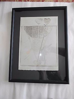Signed Art Collage, Embossed Paper, AIRBORNE HEARTS, Ltd Edition, Christine ??