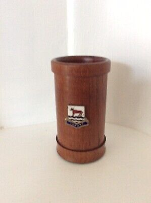 VINTAGE TREEN DICE SHAKER WITH OXFORD BADGE.