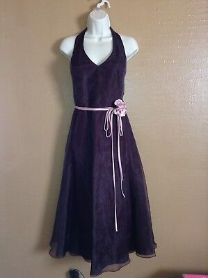 Davids Bridal Chocolate Brown Belted Pink Rose Bouquet Halter Formal Gown 12 Chocolate Brown Pink Wedding