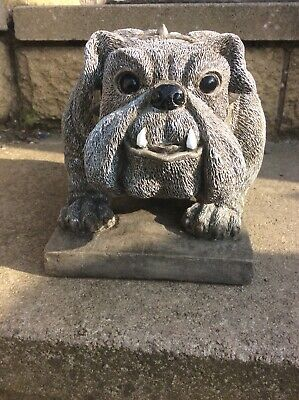 2 x Garden Cast Stone British Bull Dog on plinth Ornament Sculpture