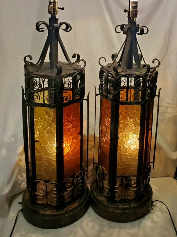 2 Wrought Iron Spanish Revival Medieval Gothic Amber Glass Mid Century Lamps