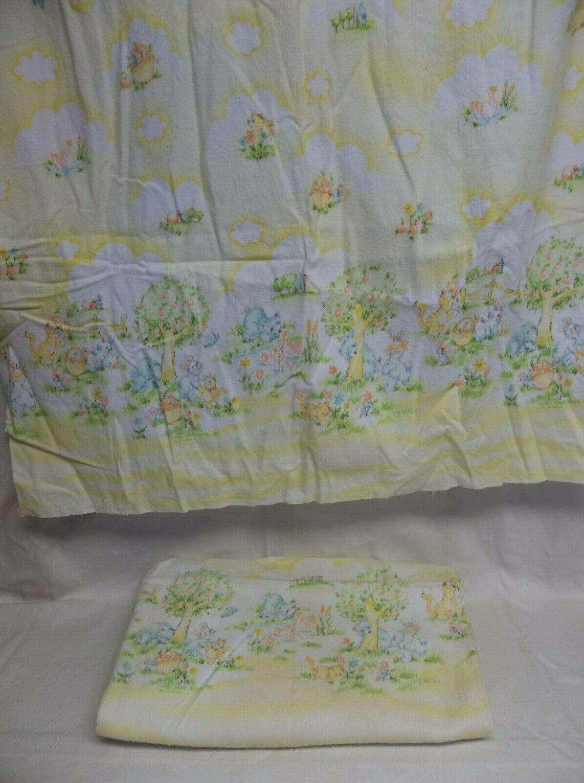 Lot of 2 Vtg Dundee Receiving Swaddling Blanket Bear Bunny c