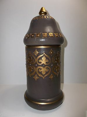 Vintage Italian Pottery APOTHECARY Jar Gold Gilt GREY Taupe INCISED 11.25""